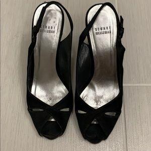 Stuart Weitzman black open toe heels